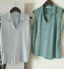 LADY HAGEN Lot of 2 Sleeveless Collar Golf Polo Shirts Heather Green & Gray sz L