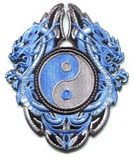 DRAGONS blue w/ yin yang EMBROIDERED IRON-ON PATCH **FREE SHIP** -p3505 -chinese