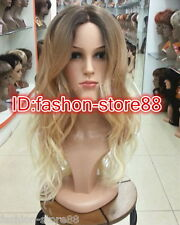 2019 Ladies Front lace Wigs Curly Long Wavy hair brown Golden Blonde mixed wig