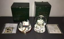THOMAS KINKADE LIGHTED COTTAGE STONEHEARTH HUTCH & VICTORIAN CHRISTMAS SNOWGLOBE