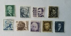 1965-1981 Prominen Americans 9 Stamps from SC#1278 Thomas Jefferson to SC#1292