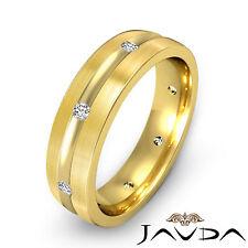 Diamond Men Eternity Wedding Solid Band 14k Yellow Gold Matt Brushed Ring 0.16Ct