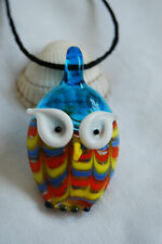 Murano glass pendant blue yellow little cute lucky owl with black cord necklace