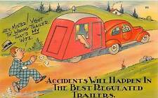 Vintage Travel Trailer Art Comic Wife Inside  Refrigerator / Tool  Box  Magnet