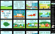 On the Go DIY Book or story quilt  Panel Cotton 24 by 44inch Car Bus Plane