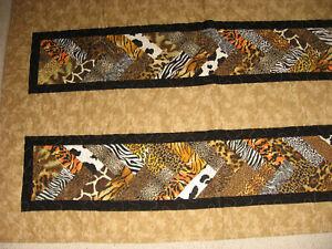 Patchwork Quilt Throw 60x50 Animal Prints Tan Black