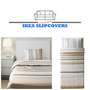 IKEA BLARIPS Twin Duvet Cover Queen Pillowcase Set Striped Pink/White/Beige NEW