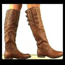 Steve Madden Boots Brown Leather Knee High Riding 4 buckles Womens Size 9 M