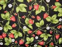 "Maywood Studio""STRAWBERRIES""2b 100% cotton Fabric by the Yard ,Free Shipping!"
