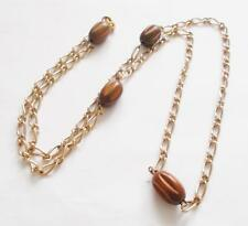 VINTAGE 1950'S ROWN WOODEN BEADS BEADED GOLD TONE CHAIN LONG NECKLACE