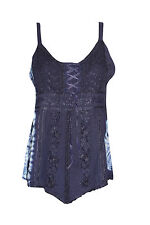 BOHEMIAN WOMEN'S TANK TOP BLUE EMBROIDERED SUMMER FASHION GYPSY STYLISH BLOUSE S