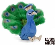 Living Nature Pavo Real Peluche Juguete de Peluche-sentado colorido Fluffy Pájaro