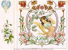 """Art Deco - """"ALGODON PARA BORDAR MARCIA C.B """"CRU"""" - Chromolithograph - c1920"""