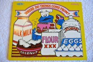 Vintage 1974 Playskool Sesame Street COOKIE MONSTER wooden frame tray puzzle