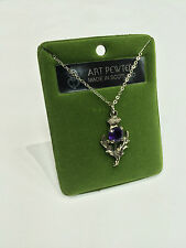 Art Pewter Ladies Scottish Thistle Amethyst Stone Necklace Made in Scotland New