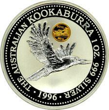 1 OZ Silber Kookaburra 1996 mit gold Goya privy mark Box CoA 2500 Extrem seltten