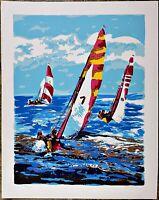Isaac Goody Signed, Vintage Print Serigraph, Summer Sailboat, Edition Number 350