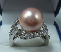 Mode 12mm Rosa Muschelkernperlen Ring