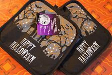 SET OF 2 NEW KITCHEN POTHOLDERS  Black Quilted  Happy Halloween Haunted House