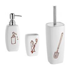 Set bagno 3 accessori in ceramica bianca con disegni artigianali arredo moderno