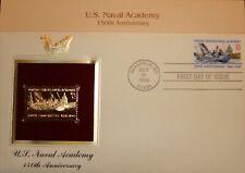 22K 1995 U.S. Naval Academy Anniversary Gold Proof StampReplica 1stDayCov NoAddr