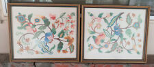 Two 1970's Vintage Handmade Needlepoint Embroidery Floral Design Framed