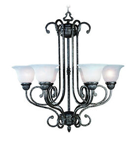 Tuscany gray chandelier 6 lights with alabaster glass shades