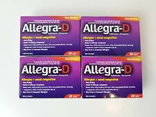 4 x Allegra D 12 Hour Allergy Nasal Congestion Tablets 30 Caplets 18 Exp 2022