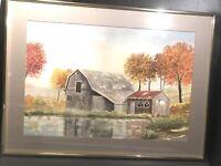 Vintage Ed Klingman Watercolor Painting South Florida Artist Landscape Farm