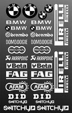 KIT ADESIVI GRAFICHE STICKERS MOTO SPONSOR BIANCO CARENE BMW S 1000 RR HP4 GS