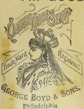 1870's-80's George Boys & Sons Queen Table Syrup Lovely Image Of Lady P58