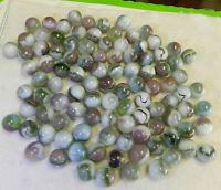 #10935m Vintage Group of 100 Mostly Vitro Agate Marbles .59 to .64 Inches