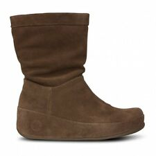 FITFLOP CRUSH CHOCOLATE BROWN SUEDE LEATHER SLOUCH BOOTS UK 3 EU36 BNIB RRP £130