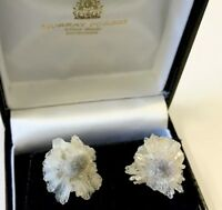 Vintage Natural Agate Crystal Flowers Post Earrings Large Stud Style