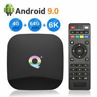 Q Plus 6K Quad Core 4GB +64GB Android 9.0 Smart TV Box HDMI WIFI Media Streamers