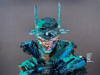 Original Abstract Batman Who Laughs Palette knife Comic Wall Art Painting 12x16""