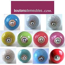 Boutons de Placard Tiroir Céramique Porcelaine Craquelé 3,5cm Ø Knob Handle