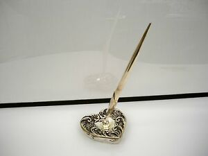 1992 GODINGER SILVERPLATED PEN AND HEART SHAPED HOLDER