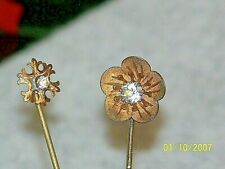 Antique Lot Of 2 Victorian Gold Filled And Rhinestone Hatpins Stick Pins