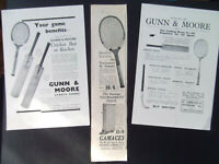 TENNIS RACKETS 3 ORIGINAL OLD VINTAGE ADVERTS DATED 1920's GAMAGES/ GUNN & MOORE