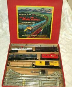 1950 BALTIMORE & OHIO TIN BATTERY OPERATED-STANDARD GAUGE TRAIN SET-W-BOX-JAPAN