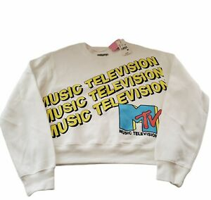 MTV Music Television Women's White Pullover Sweater- Colorful Spellouts- Sz LG
