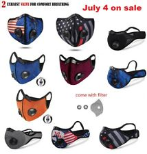 USA seller Cycling Face Mask With Active Carbon Filter Breathing Valves Washable