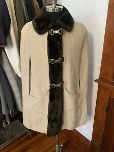 Juli di Roma 50s Tweed Wool Vtg Faux Fur Coat Cape Poncho Russian Princess