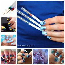 3x UV-Gel Nagel Schlepper Pinsel Spitzpinsel Nail Art Striper Liner Brush Bürste