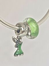 Authentic Pandora Disney Tinkerbell Dress #792139EN93 & Murano #791693 W/Box