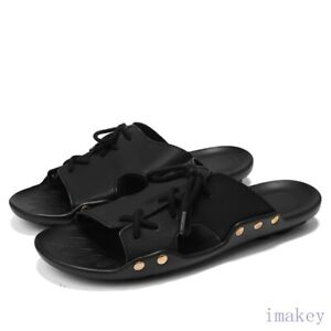 Mens Peep Toes Hollow Out Rivet Lace-up Summer Slipper Outdoor Casuals Shoes New