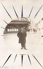 BK155 Carte Photo vintage card RPPC Homme cadre montage pochoir soleil  funny