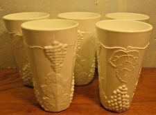 set of five vintage milk glass paneled grape tumblers