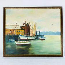 "Vintage Fishing Boat Harbor Seascape Original Painting 24"" x 20"" Virginia Beach"